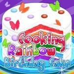 Cooking Rainbow Birthday Cake